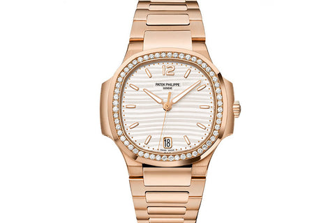 Patek Philippe Ladies Nautilus 7118/1200R-001 - Rose Gold on Bracelet - White Dial w/ Diamond Bezel