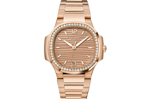 Patek Philippe Ladies Nautilus 7118/1200R-010 - Rose Gold on Bracelet - Gold Dial w/ Diamond Bezel