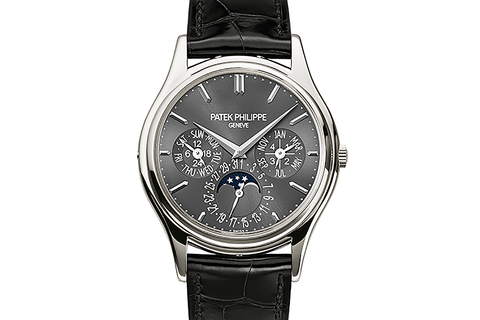 Patek Philippe Grand Complications Perpetual Calendar 5140P-017 - Platinum on Black Leather - Grey Dial