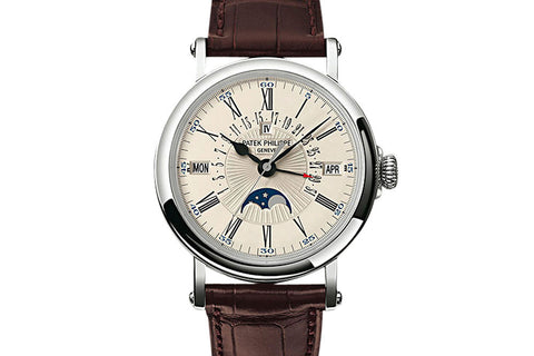 Patek Philippe Grand Complications Perpetual Calendar 5159G-001 - White Gold on Brown Leather - Opaline Dial