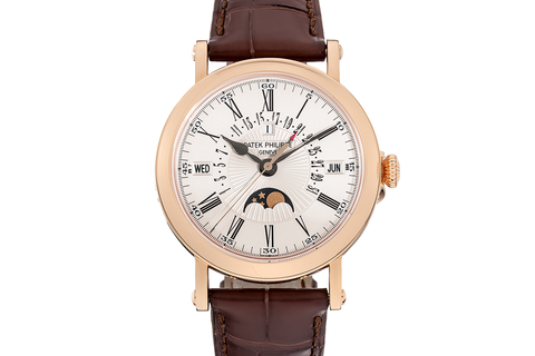 Patek Philippe Grand Complications Perpetual Calendar 5159R-001 - Rose Gold on Brown Leather - Oplaline Dial