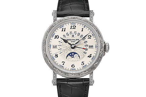 Patek Philippe Grand Complications Perpetual Calendar 5160/500G-001 - White Gold on Black Leather - Opaline Dial
