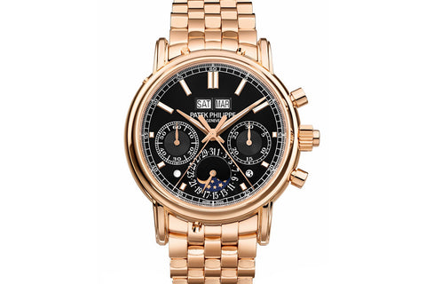 Patek Philippe Grand Complications Perpetual Calendar 5204/1R-001 - Rose Gold on Bracelet - Black Dial
