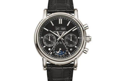 Patek Philippe Grand Complications Perpetual Calendar 5204P-011 - Platinum on Black Leather - Black Dial