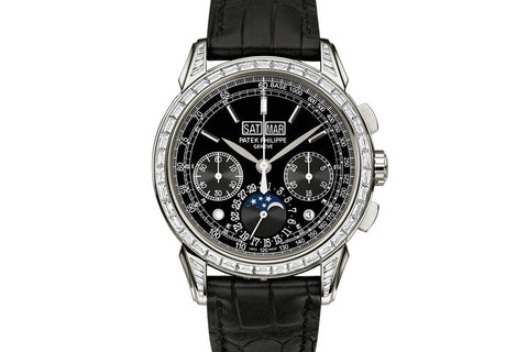 Patek Philippe Grand Complications Perpetual Calendar 5271P-001 - Platinum on Black Leather - Black Dial w/ Diamond Bezel