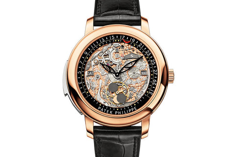 Patek Philippe Grand Complications Minute Repeater 5304R-001 - Rose Gold on Black Leather - Skeleton Dial