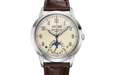 Patek Philippe Grand Complications Perpetual Calendar 5320G-001 - White Gold on Brown Leather - Cream Dial