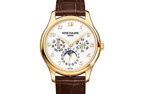 Patek Philippe Grand Complications Perpetual Calendar 5327J-001 - Yellow Gold on Brown Leather - Ivory Dial