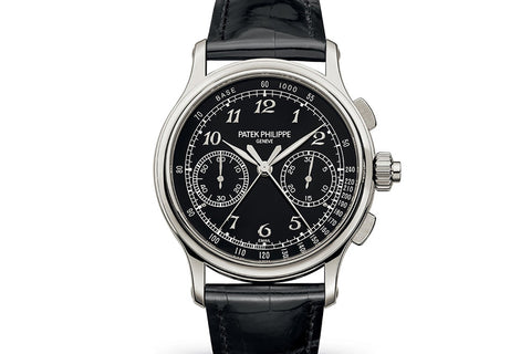 Patek Philippe Grand Complications Chronograph 5370P-001 - Platinum on Black Leather - Black Dial