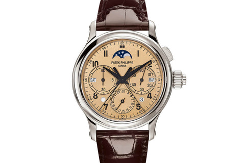Patek Philippe Grand Complications Perpetual Calendar 5372P-010 - Platinum on Brown Leather - Gold Dial