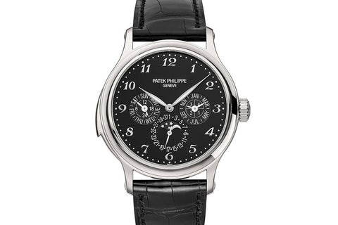 Patek Philippe Grand Complications Minute Repeater 5374P-001 - Platinum on Black Leather - Black Dial