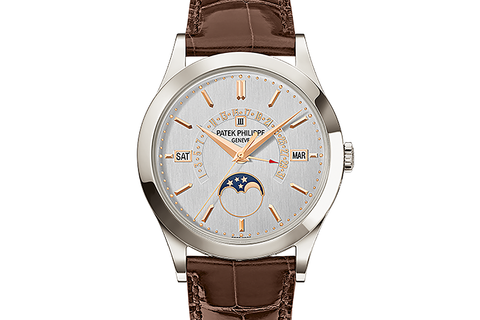 Patek Philippe Grand Complications Perpetual Calendar 5496P-015 - Platinum on Brown Leather - Silver Dial