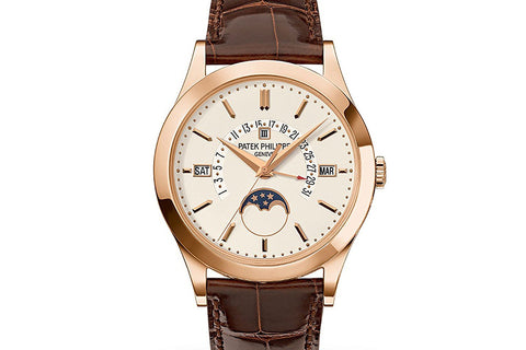 Patek Philippe Grand Complications Perpetual Calendar 5496R-001 - Rose Gold on Brown Leather - Opaline Dial
