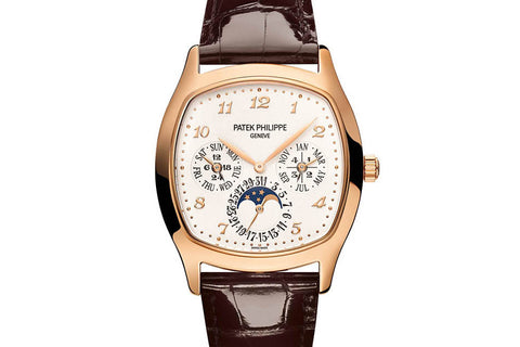 Patek Philippe Grand Complications Perpetual Calendar 5940R-001 - Rose Gold on Brown Leather - Silver Dial