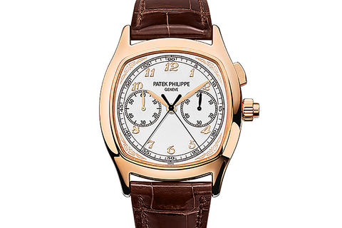 Patek Philippe Grand Complications Chronograph 5950R-001 - Rose Gold on Brown Leather - Silver Dial