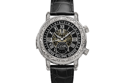 Patek Philippe Grand Complications Sky Moon Tourbillon 6002G-010 - White Gold on Black Leather - Black Dial