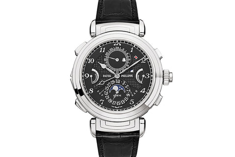 Patek Philippe Grand Complications Grand Sonnerie 6300G-001 - White Gold on Black Leather - Black Dial