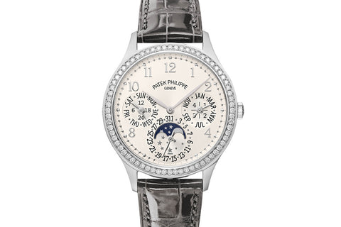 Patek Philippe Grand Complications Ladies First Perpetual Calendar 7140G-001 - White Gold on Grey Leather - Silver Dial w/ Diamond Bezel