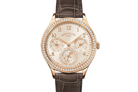 Patek Philippe Grand Complications Ladies First Perpetual Calendar 7140R-001 - Rose Gold on Gray Leather - Opaline Dial w/ Diamond Bezel