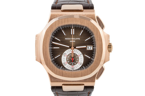 Patek Philippe Nautilus Chronograph 5980R-001 - Rose Gold on Brown Leather - Brown Dial