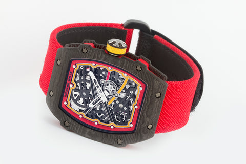 Richard Mille RM67-02 - Black & Red Carbon TPT on Red Nylon Strap