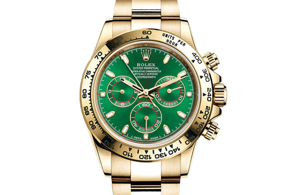 590ffb816fe Rolex Oyster Perpetual Cosmograph Daytona 18K Yellow Gold - Green Dial –  Authentick