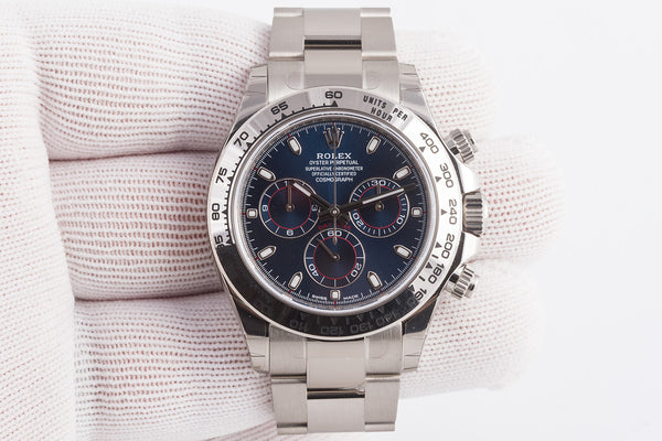 Rolex Oyster Perpetual Cosmograph Daytona 18k White Gold Blue Dial