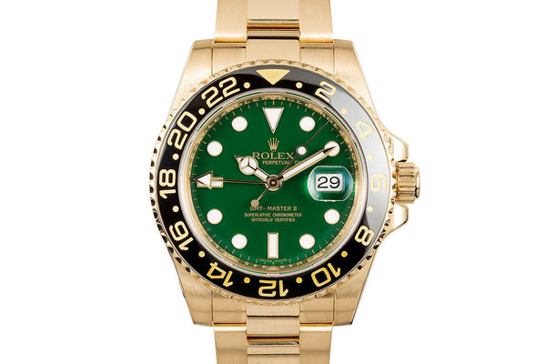 528830f91 Rolex Oyster Perpetual GMT-Master II 18K Yellow Gold - Green Dial –  Authentick