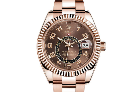 Rolex Oyster Perpetual Sky-Dweller 18K Rose Gold on Bracelet - Chocolate Dial