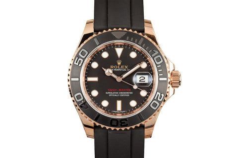 Rolex Oyster Perpetual Yacht-Master 37mm 18K Rose Gold on Black Rubber - Black Dial