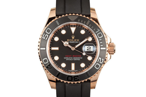Rolex Oyster Perpetual Yacht-Master 40mm 18K Rose Gold on Black Rubber - Black Dial