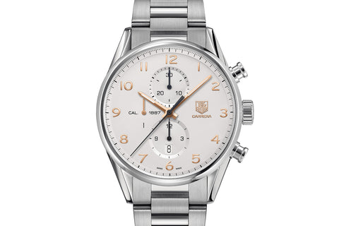 TAG Heuer Carrera Calibre 1887 Automatic Chronograph - White & Rose Gold on Stainless Bracelet