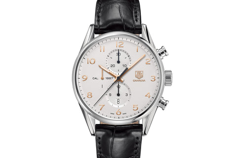 TAG Heuer Carrera Calibre 1887 Automatic Chronograph - White & Rose Gold on Black Leather Strap