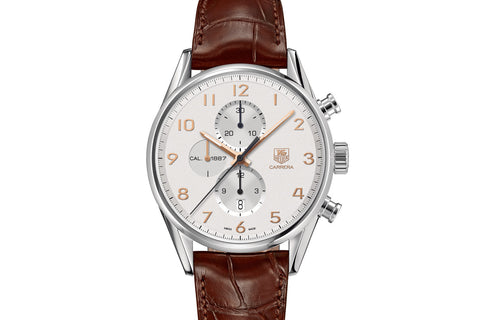 TAG Heuer Carrera Calibre 1887 Automatic Chronograph - White & Rose Gold on Brown Leather Strap