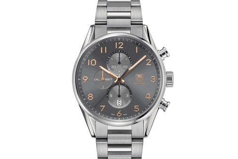 TAG Heuer Carrera Calibre 1887 Automatic Chronograph - Grey & Rose Gold on Stainless Bracelet