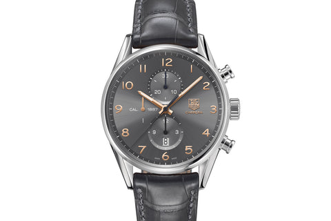 TAG Heuer Carrera Calibre 1887 Automatic Chronograph - Grey & Rose Gold on Anthracite Leather Strap