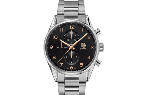 TAG Heuer Carrera Calibre 1887 Automatic Chronograph - Black & Rose Gold on Stainless Bracelet