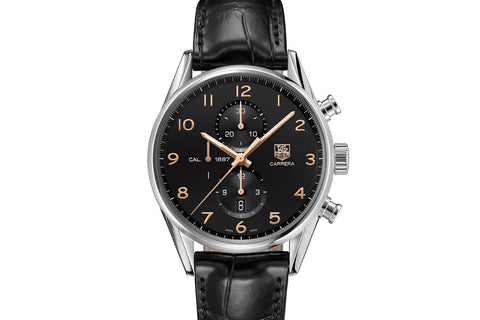 TAG Heuer Carrera Calibre 1887 Automatic Chronograph - Black & Rose Gold on Black Leather Strap