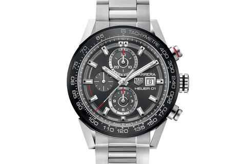 TAG Heuer Carrera Calibre Heuer 01 Automatic Chronograph - Grey & Red on Stainless Bracelet