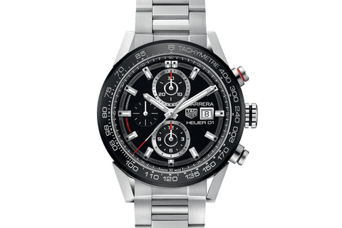 TAG Heuer Carrera Calibre Heuer 01 Automatic Chronograph - Black & Red on Stainless Bracelet