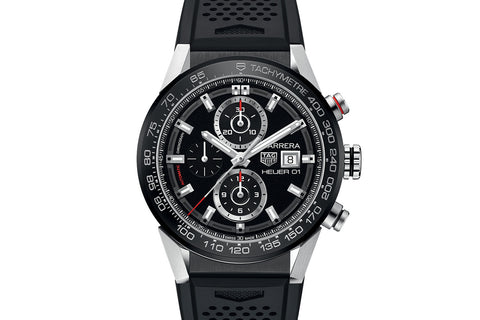 TAG Heuer Calibre Heuer 01 Automatic Chronograph - Black & Red on Black Rubber Strap