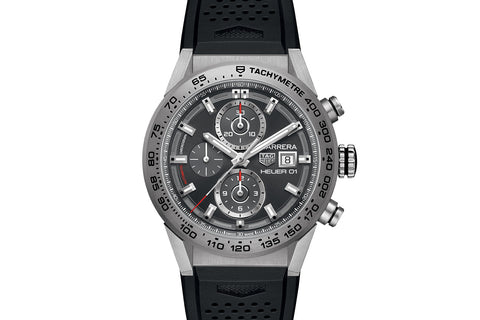 TAG Heuer Carrera Calibre Heuer 01 Automatic Chronograph - Grey Titanium on Black Rubber Strap