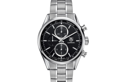 TAG Heuer Carrera Calibre 1887 Automatic Chronograph - Black Dial on Stainless Bracelet