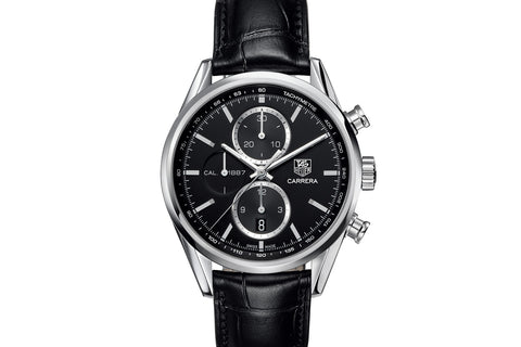 TAG Heuer Carrera Calibre 1887 Automatic Chronograph - Black Dial on Black Leather Strap