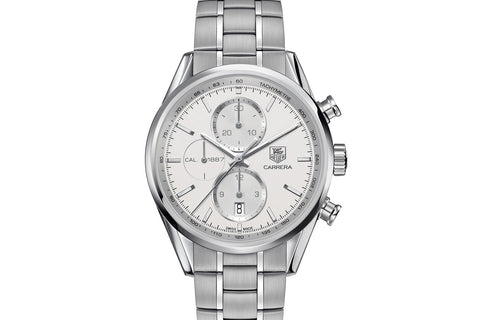 TAG Heuer Carrera Calibre 1887 Automatic Chronograph - White & Silver on Stainless Bracelet