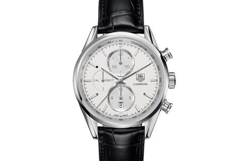 TAG Heuer Carrera Calibre 1887 Automatic Chronograph - White & Silver on Black Leather Strap