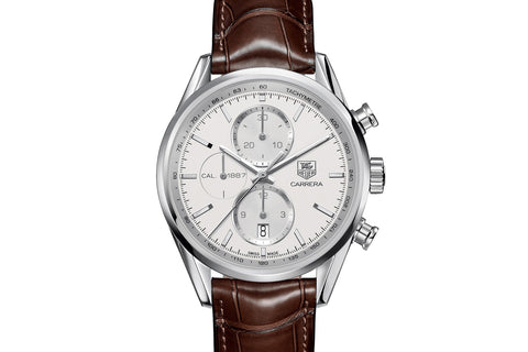 TAG Heuer Carrera Calibre 1887 Automatic Chronograph - White & Silver on Brown Leather Strap