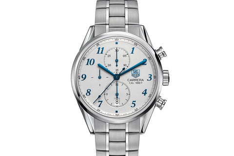 TAG Heuer Carrera Calibre 1887 Automatic Chronograph - White & Blue on Stainless Bracelet