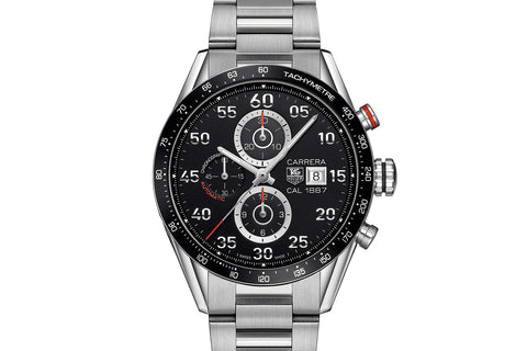 TAG Heuer Carrera Calibre 1887 Automatic Chronograph - Black & Silver on Stainless Bracelet