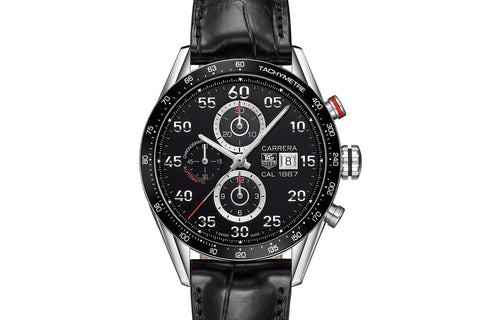 TAG Heuer Carrera Calibre 1887 Automatic Chronograph - Black & Silver on Black Leather Strap
